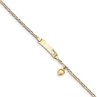 14k sárga arany dangle polírozott gravírozható 6 hüvelykes Figaro lógó Love Heart fiúknak vagy lányoknak ID karkötő Homár Karom