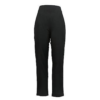 Susan Graver Weekend Women's Pants Reg Stretch Slim-Leg Black A350175