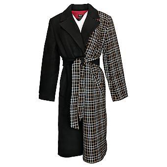 Du Jour Women's Two Tone Overcoat With Belt Black A385005