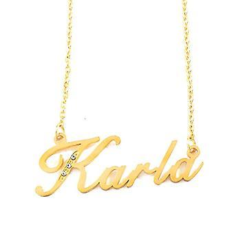 """L Karla - 18-karat forgyldt halskæde, med tilpasselig navn, justerbar kæde af 16 """"- 19"""", i Regal Packaging"""