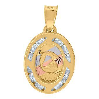 14k Tri colore Oro Unisex CZ Cubic Zirconia Simulato Diamante Scintilla Taglio Battesimo Bautizo Fascino Religioso Pendente Neckla