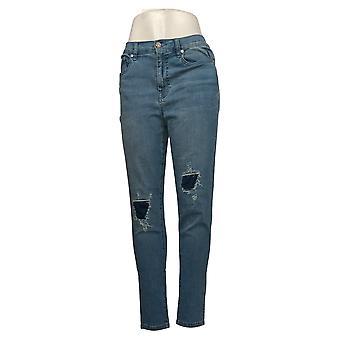 DG2 Af Diane Gilman Kvinders Jeans Stretch Crosshatch Skinny Blue 740964