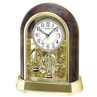 Rhythm Gold Finish Mantel Clock - Kristaller från Swarovski