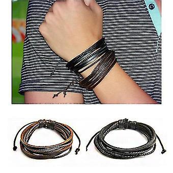 Pulseira de corda de trança de couro multicamada da moda