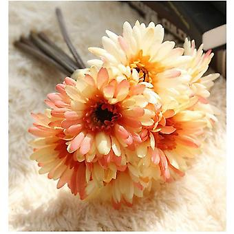 Konstgjord Daisy Flower Brud och Brudtärna Bukett 7 Silk Daisy Diy Dekoration Höstlandskap