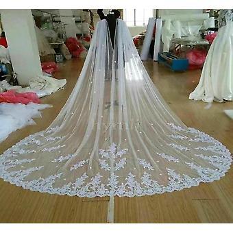 واسعة الزفاف كيب الحجاب، كاتدرائية الدانتيل فستان الزفاف الحجاب