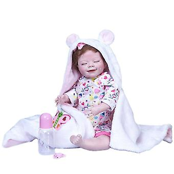 55Cm reborn newborn baby sleeping april in blanket full body silicone soft real touch collectible high quality art