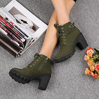 Girl Women High Top Heel Lace Up Buckle Ankle Boots Winter Pumps Suede Shoes