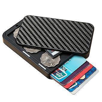 Card Wallet Kartenhalter Mann, Slim Fashion RFID Kohlefaser Brieftasche (Schwarz)
