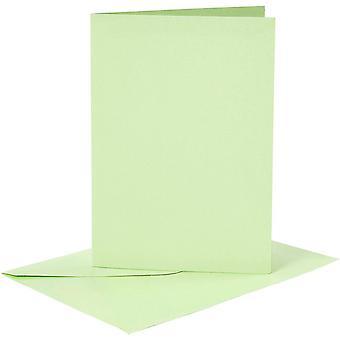 6 Blancs et enveloppes de carte vert clair A6 pour l'artisanat