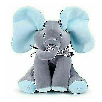 Music Elephant Plush Toy Stuffed Singing Doll Baby Kids Gift(Blue)