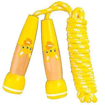 Игрушка Прыжки Со скакалкой для детей Регулируемая скакалка с деревянной ручкой, спорт на открытом воздухе (желтый)