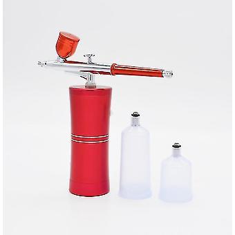 Top 0,4 mm mini luft børste spray pistol kompressor kit til søm kunst design (rød)