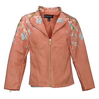 Colleen Lopez Women's Faux Leather Embroidered Jacket Pink 638980