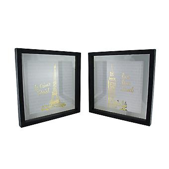 2 Pc. Live Love Travel Foiled Eiffel Tower/Big Ben Wall Hanging Set