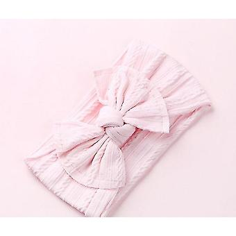 Nylon Bow Headbands Cable Knit Solid Wide Turban For Baby
