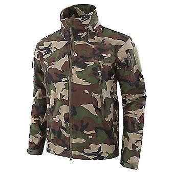 冬のソフトシェル防水戦術的なフード付きジャケット