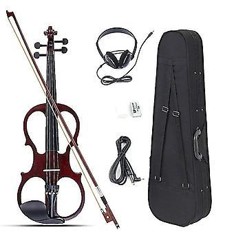 4/4 初心者のためのフィッティングケーブルヘッドフォンとケースを備えた電気バイオリンセット