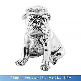SILVER ART BULLDOG SITTING WEARING HAT AND BOW 20CM HOME DECORATION SCULPTURE