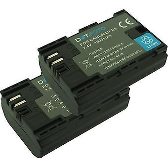 2 x dot. Foto LP-E6 PREMIUM erstatning oppladbart kamera batteri for Canon-7.4 v/1600mAh [se beskrivelse for kompatibilitet]