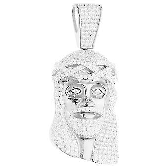 Premium Bling - 925 Sterling Gümüş İsa Kafa Kolye