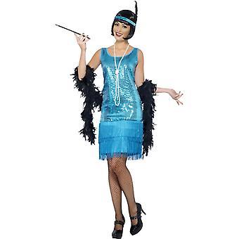 Flirty flapper kostuum Turquoise jurk, zendspoel en ketting