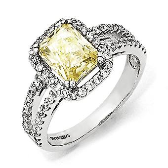 925 Sterling Silver Cushion Cut Rhodium plated CZ Cubic Zirconia Simulated Diamond Canary Square Ring Jewelry Gifts for