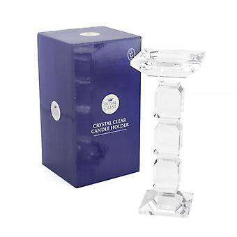 CRYSTAL CLEAR GLASS CANDLE HOLDER 25CM HOME DECORATION