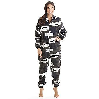 Camille Womens Snow Camouflage Supersoft Fleece Zip Front Hooded Onesie