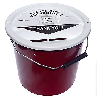 Charity Money Collection Bucket 5.7 Litres - Burgundy