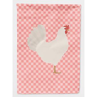 Carolines Treasures  BB7840GF Leghorn Chicken Pink Check Flag Garden Size