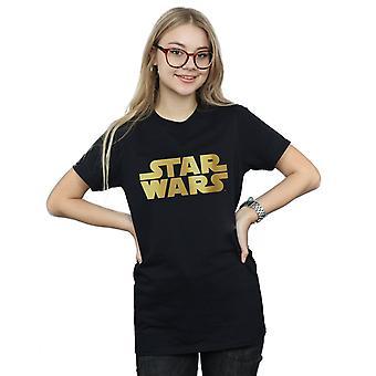 Star Wars Women's Gold Logo Boyfriend Fit T-Shirt