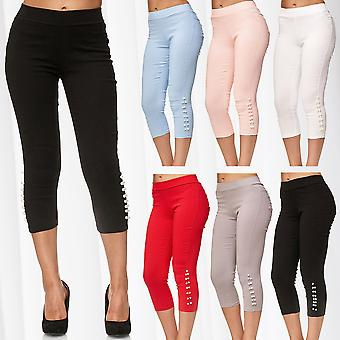 Ladies Capri Pants Skinny Treggings Hipsters Shorts Jeggings Cropped Pearls