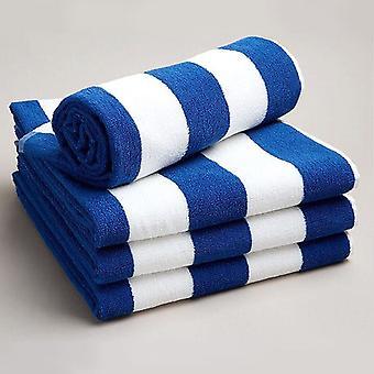 Pool Beach Gym Towel Egyptian Cotton Blue White Stripes Chlorine Resistant