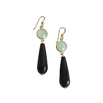 Ladies earrings, Black Onyx and chalcedony gemstone earrings gold plated