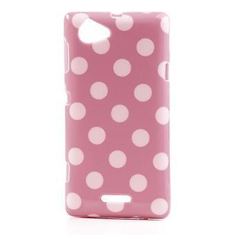 Eloisa soittaa puhelimella Sony Xperia L S36h pinkki suojakotelo