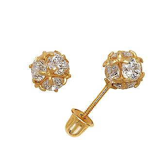 14k Yellow Gold CZ Cubic Zirconia Simulated Diamond Small Disco Ball Screw back Earrings Measures 6x6mm Jewelry Gifts fo
