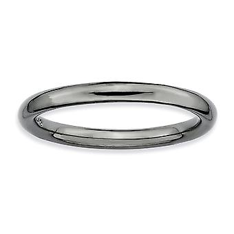 925 Sterling Silver Ruthenium plating Stackable Expressions Black plated Polished Ring Jewelry Gifts for Women - Ring Si