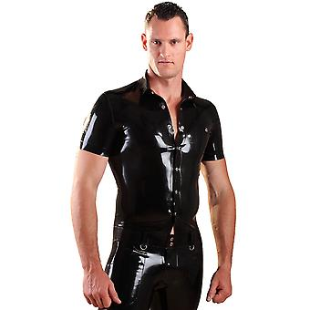 Honour Men's Sturdy Shirt Top in Black Latex Rubber Tight Fit Short Sleeves