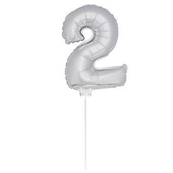 Folienballon Zahlenballon Zahl 2 luftaufblasbar 36 cm Ballon