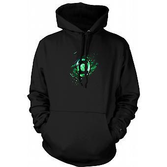 Mens Hoodie - The Green Lantern - Superhero Ripped Design
