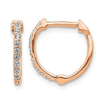 1/5 Carat (ctw) Diamond Hoop Earrings in 14K Rose Pink Gold