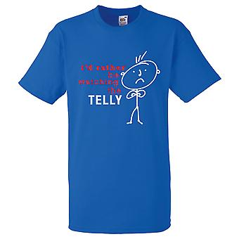 Mens I'd Rather Be Watching The Telly Royal Blue Tshirt