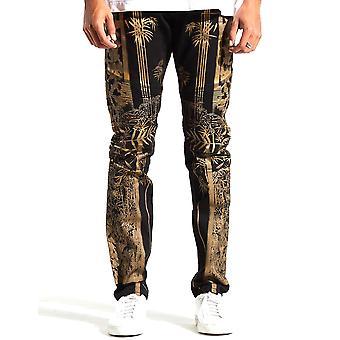 Embellish Phoenix Denim Jeans Black Gold