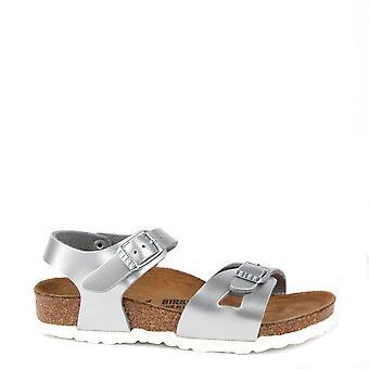 Birkenstock dzieci Rio metaliczne Srebrne sandały