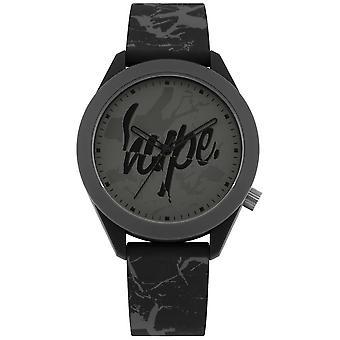 Hype | Mens Grey Print Silicone Strap | Grey Dial | HYG005B Watch