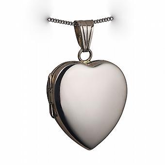 18ct hjerteformet hvidguld 24x20mm plain medaljon med en bremse kæde 20 inches
