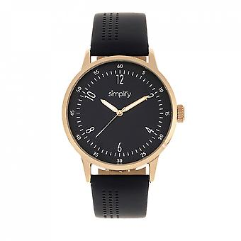 Simplify The 5700 Leather-Band Watch - Navy