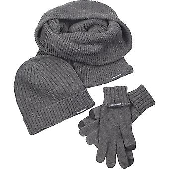 Urban classics - WINTER SET-Hat scarf gloves grey