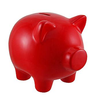 Fire Red Portly Pig Ceramic Coin Bank